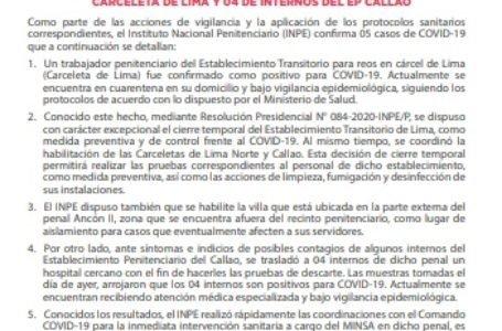 Inpe confirma cinco casos de covid-19 en Lima