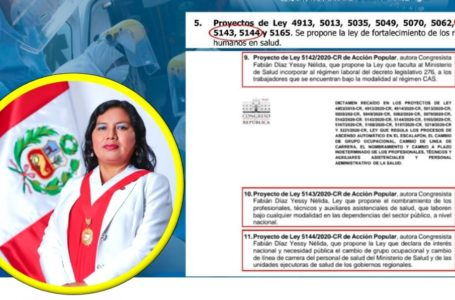 Congreso aprueba 3 proyectos de ley de Yessi Fabián, a favor de trabajadores de Salud