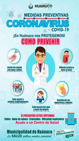 municipalidad de huanuco medidas contra el coronavirus